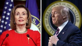 Spika wa bunge la uwakilishi nchini Marekani nancy Pelosi na rais Donald Trump Kulia