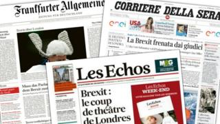The British High Court decision is reflected on the front pages of German daily Frankfurter Allgemeine Zeitung, the Italian daily Corriere della Sera and French daily Les Echos.
