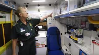 Inside EMAS ambulance