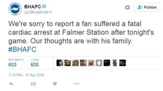 Brighton and Hove Albion football club tweet