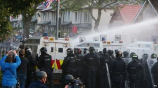 Water cannon being used by police in Belfast (13/07/15)