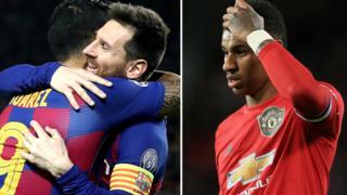 """Футболисты """"Барселоны"""" и """"Манчестера"""""""