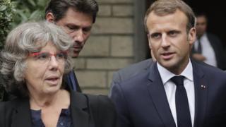 الرئيس الفرنسي ماكرون مع ميشيل أودين ابنة موريس