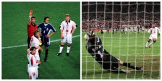 David Beckham gets a red card and Paul Ince misses a penalty against Argentina.