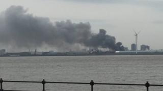 Fire at Alexandra Dock in Bootle