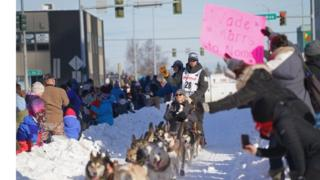 Reigning winner Joar Leifseth Ulsom rides through Anchorage