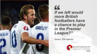 """Simon asks: """"If we left would more British footballers have a chance to play in the Premier League?"""""""