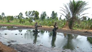 An abandoned, disused oil well in Ogoni Territory, Nigeria