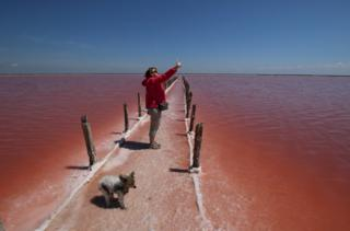 A woman with a dog takes a selfie, surrounded by red water