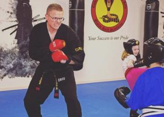 Gavin Eastham practicing martial arts