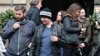 Irvine Welsh on the set of T2