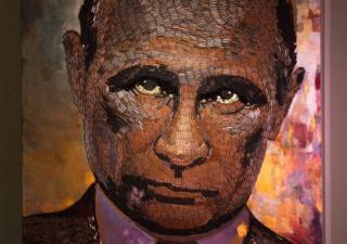 Портрет президента Росії Володимира Путіна, викладений з гільз