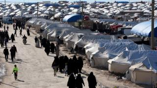 The al-Hol camp in Syria where women and children linked to IS are held