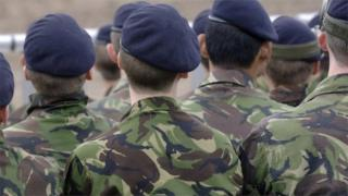 Young army cadets marching