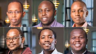 Top - left to right: Ashford Kuria, Denis Mwaniki and Jeremiah Mbaria. Bottom - left to right: John Ndiritu, Kelvin Gitonga and Wilfred Kareithi. All Cellulant employees who were killed in the Dusit compound siege