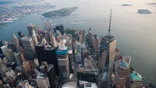 Aerial view of One World Trade Center in Manhatten