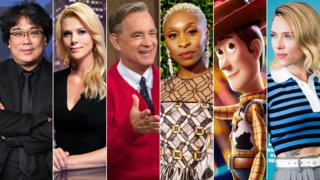 hollywood Bong Joon Ho, Charlize Theron, Tom Hanks, Cynthia Erivo, Woody from Toy Story and Scarlett Johansson