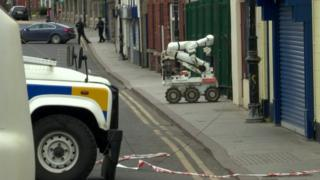 An army robot at the scene of the pipe bomb explosion in Armagh