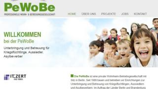 Screenshot of Pewobe website