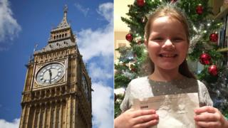 A file photo of Big Ben alongside a photo of Phoebe Hanson holding the BBC's letter