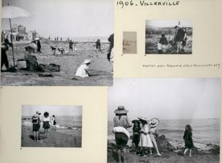 A family album page showing beach holiday photographs
