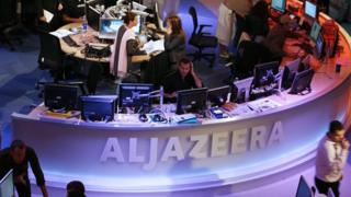 The newsroom at the headquarters of the Qatar-based al-Jazeera news channel in Doha - 14 November 2006