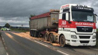 Lorry sheds pasta load