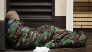 Homeless person sleeping