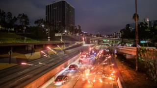 in_pictures Fireworks were thrown on to Freeway 110 North, in Los Angeles, as protesters tried to block roads