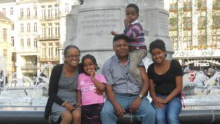 Yemi Hailemariam (far left), Andy Tsege (centre right) and their children