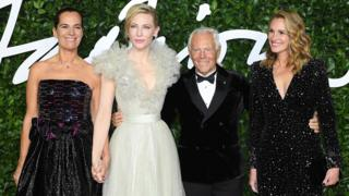(Left to right) Roberta Armani, Cate Blanchett, Giorgio Armani and Julia Roberts