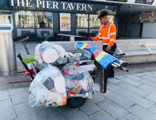Litter collected on Great Yarmouth beach