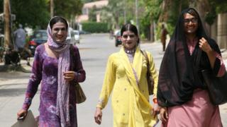 Transgender women outside a Public Facilitation Centre in Pakistan, April 2011