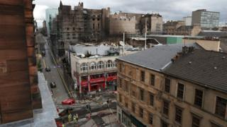 Exterior view of the fire damage at the Glasgow School of Art in the historic Mackintosh Building and the O2 ABC Glasgow
