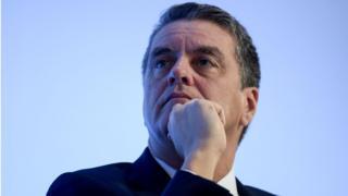 Diretor-geral da OMC, Roberto Azevêdo, durante conferência em Paris em 16 e novembro
