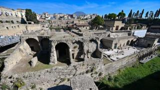 A general view shows the archaeological site of Herculaneum in Ercolano, near Naples