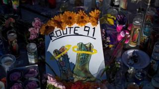 Makeshift memorial in Las Vegas on 3 October 2017