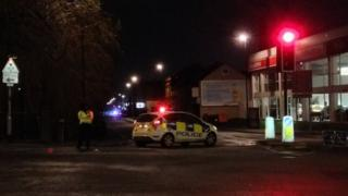 Road closed and police cordon near crash site at Feeder Road in Bristol