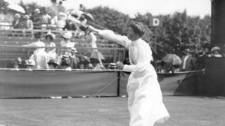 British tennis player Charlotte Cooper, who was the first female Olympic champion, plays tennis in a long costume which covers her ankle.
