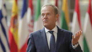 EU Council President Donald Tusk (L) prior to a meeting at EU council in Brussels, Belgium, 5 September 2019.