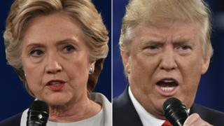 This file combination of pictures created on October 9, 2016 shows Democratic presidential nominee Hillary Clinton and Republican presidential nominee Donald Trump during the second presidential debate at Washington University in St. Louis, Missouri