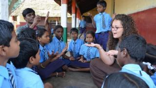 UKV Team Leader Ruth Mclennan is teaching a lesson to local school children about the importance of hygiene and the benefits of hand washing in Naganapura Colony, India
