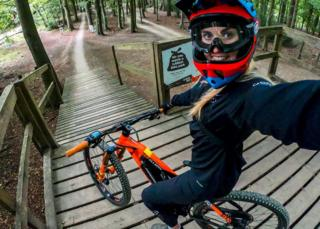 Kara Beal on an e-bike
