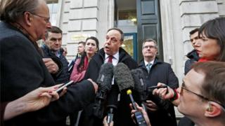 Nigel Dodds speaks to media