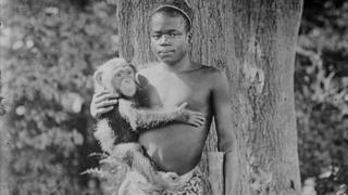 sports Ota Benga pictured holding a monkey in the US