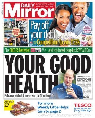 The Daily Mirror front page 04.07.20