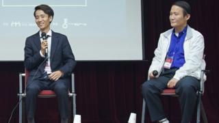 22일 '탈북민 창업가 토크 콘서트'에서 연사로 참여한 탈북민 사업가 유진성(왼쪽)씨와 이대성 씨