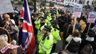 Londra'daki Yüksek Mahkeme binasının önünde aynı anda gösteri yapan AB ve Brexit yanlıları arasında polis barikat oluşturdu.