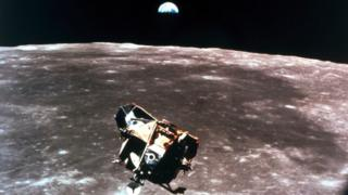 The Apollo 11 Lunar Module is approaching the Moon
