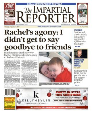 front page of the Impartial Reporter Thursday 6 September 2018